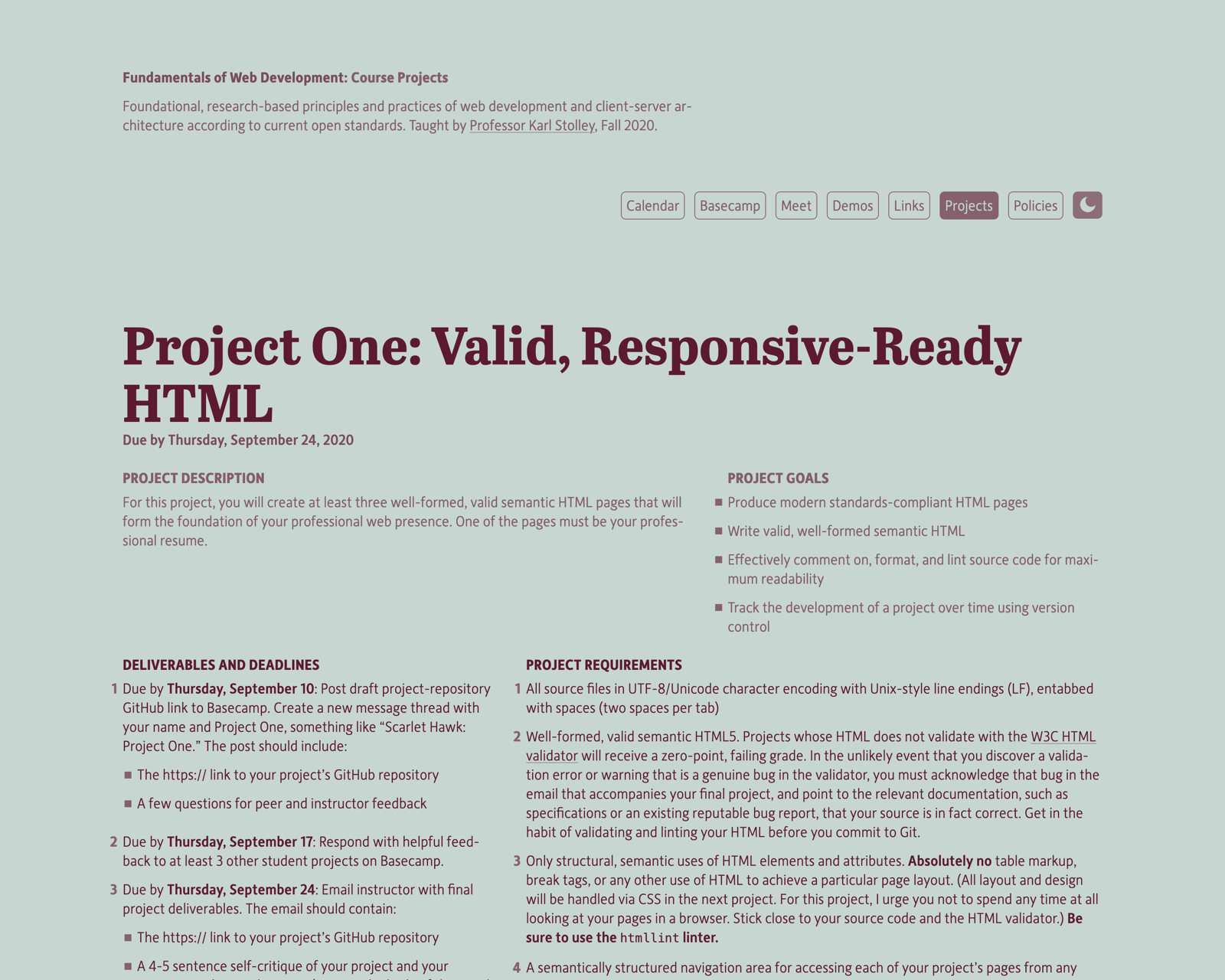 Screenshot of ITMD 361 site.