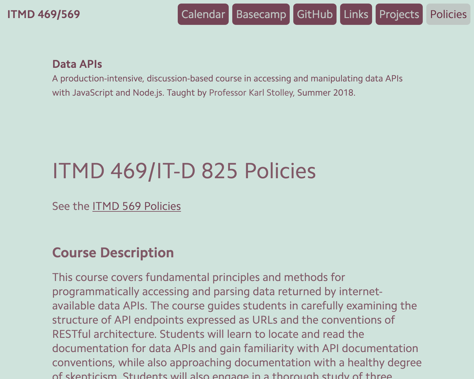 Screenshot of ITMD 469 site.